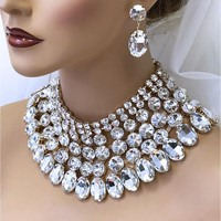 Gold Chunky Crystal Bib Necklace Bridal Jewelry Set