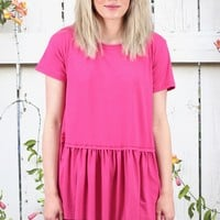 Suedette Peplum Short Sleeve Top {Hot Pink} EXTENDED SIZES