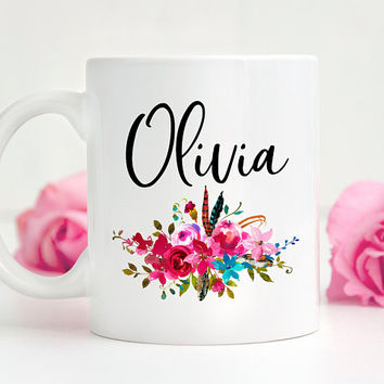 Personalized Floral Coffee Mug, Ceramic Mug, 11 or 15 Ounce Mug, Custom Name Mug, Custom Gift, Birthday Gift, Personalized Bridesmaid Gift