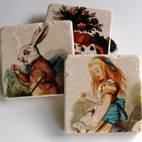 Alice In Wonderland stone coaster set
