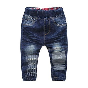 DIIMUU 1PC Autumn Fashion Baby Boys Girls Jeans Pants Children Clothing Toddler Clothes Elastic Mid Denim Cotton Casual Trousers