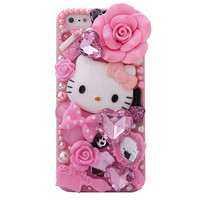 DIY handmade iPhone 5 case Pink Rose Kitty Anna sui iPhone 5g 5 gen case Cover Bling Rhinestone