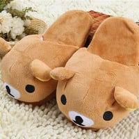 Rilakkuma Slippers Plush Brown Bear Home Warm Slippers For Women Slippers Winter House Shoes