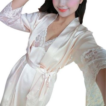 ICIKD9A Sexy Women Lace Robe Set Rayon Women Pajamas V-Neck Nightgown Women Cardigans