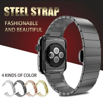 Stainless Steel Bracelet for Apple Watch band Butterfly Buckle Metal Strap 38mm/42mm Metal Link Strap for iwatch Series 1 2 3 4