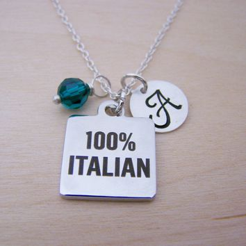 100% Italian Charm Personalized Sterling Silver Necklace