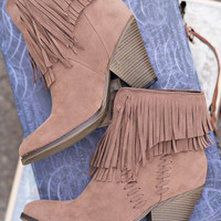 Trip To Dallas Fringe Suede Booties