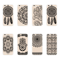 2015 New Plastic Hard Back Case Cover For Apple iPhone 6 6S Black HENNA OJIBWE DREAM CATCHER Ethnic Tribal