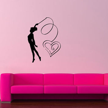 Wall Sticker Decal Room Decor Art Gymnastics Girl With Heart Ribbon Strip 1330