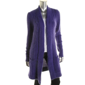 Catherine Malandrino Womens Angora Open Front Cardigan Sweater
