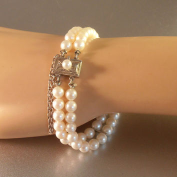 Mikimoto Double Strand Pearl Bracelet, Sterling Clasp, 5mm