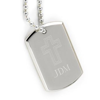 Personalized Small Inspirational Dog Tag with Engraved Cross