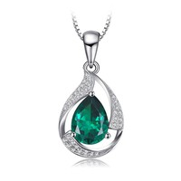Jewelry Palace Pear 2.7ct Simulated Green Nano Russian Emerald 925 Sterling Silver Pendant Necklace 18 Inches