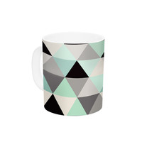 "Crystal Walen ""Triangle Geo Mint "" Teeal Black Ceramic Coffee Mug"