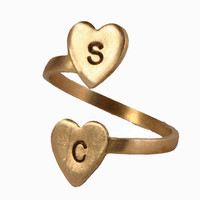 Personalized Brass Initial Ring - Two Heart Initial Ring, Custom, Personalized initials - featured in US Weekly