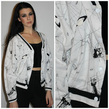 Vintage PUFFY PAINT Jacket, 80s SPACEAGE Meets Art Black and White Track Jacket