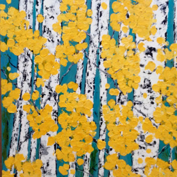 Aspen Birch Trees 24 x 30 Canvas original Painting by Vicki Conlon