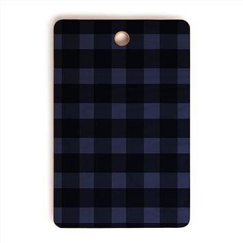 Allyson Johnson Woodsy Blue Plaid Cutting Board Rectangle