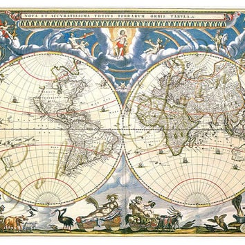 Ancient Map - Double Hemisphere - c.1673 - Digital Sheet CP-161 for Journaling, Wall Decor, Iron-On Transfer - 8.5x11 - Instant Download