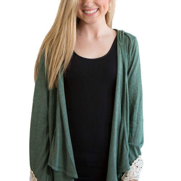 Olive hooded fold over cardigan