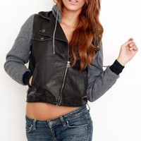 Faux Leather Long Sleeve Biker Jacket with Zip Up Front