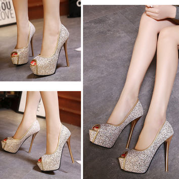 High Heel Peep Toe Gradient Shoes = 4804967236