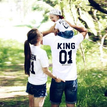 Family Look Short sleeved T-shirt father Son mother and daughter clothes 01 King Queen Prince Family Matching Outfits ME MINIME