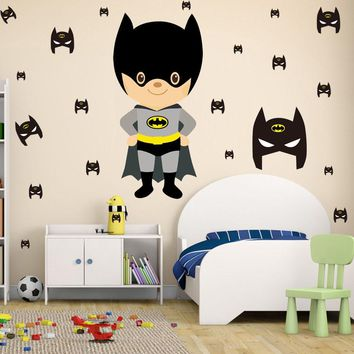 Batman Dark Knight gift Christmas Cute Cartoon Batman Wall Sticker Diy Removable PVC Wall Decal Funny Interesting Wall Art For Kids Room Modern Nordic Home Decor AT_71_6