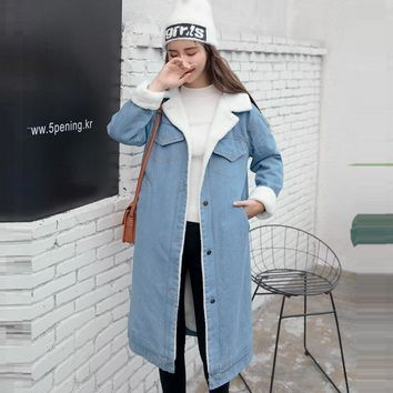 Warm Women Basic Coats Autumn And Winter Women Denim Jacket 2018 Vintage Long Sleeve Female Jeans Coat Casual Lady Long Outwear