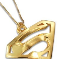 Superman Inspired Charm Pendant Sterling Silver Yellow Gold Plated Jewelry