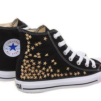DCCKHD9 Studded Converse, Converse High Top with Gold Star Studs by CUSTOMDUO on ETSY