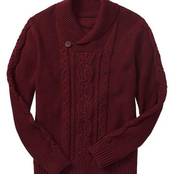 Gap Men Factory Cable Knit Shawl Sweater