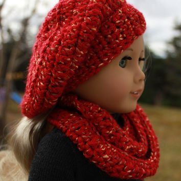 18 inch doll clothes, beret style crochet hat with infinity scarf, Upbeat petites
