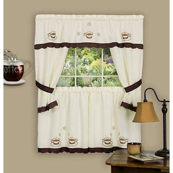 Ben&Jonah Collection Cuppa Joe Embellished Cottage Window Curtain Set - 58x36 Tailored Tier Pair/58x36 Tailored Topper with attached swaggers and tiebacks. - Brown