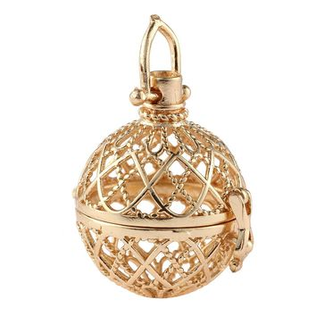 Fashion Gothic Pattern Hollow Ball Pendant Alloy  Angel Caller Wish Box Pendants Hollow With Diameter 2.5cm Necklace Jewelry