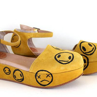 yellow suede smiley wedges 9