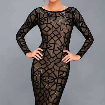 Mila Black Sequin Long Sleeve Midi Dress