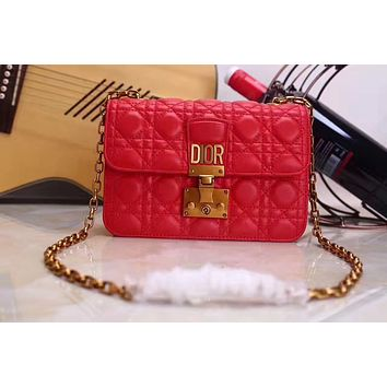 DIOR WOMEN'S LEATHER CHAIN SHOULDER BAG