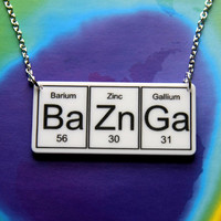BAZINGA....White  BaZnGa   Necklace  silver plated chain ... periodic table inspired jewelery