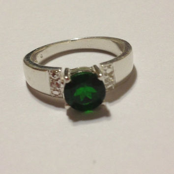 ON SALE Emerald Diamond Ring Band Size 8 Sterling Silver 2 CT Lab-created Green Stone 925 Vintage Jewelry Engagement Cocktail Promise Gift S