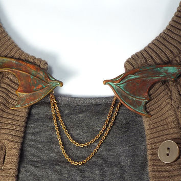 Dragon Wing  Fantasy Sweater Clip or Cloak Clasp, Brass with Verdigris Patina