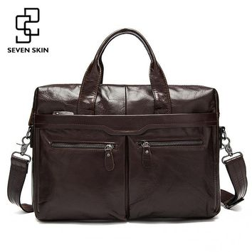 Genuine Leather Men Bags Business Briefcase Men's Laptop Bag Man Vintage Crossbody Shoulder Handbag