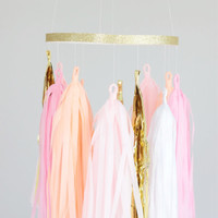 Pink, Peach and Gold Tassel Mobile - Tassel Garland Chandelier, Party Decoration, Baby Mobile, Party Decor, Nursery Decor