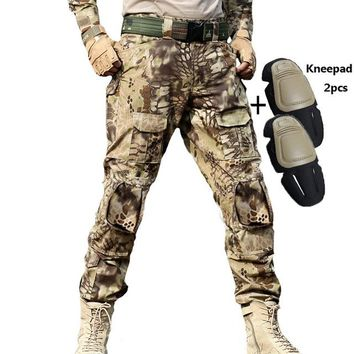 Tactical Pants Military Cargo Pants Men Knee Pad SWAT Army Airsoft Camouflage Clothes Hunter Field Combat Trouser Woodland