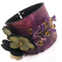 Leather purple and green floral bracelet Leather by julishland