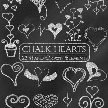 Digital Chalk Clipart: Chalk Clip Art, Chalk Heart Doodles, Chalkboard Heart Clipart, Love Clipart, Valentine Chalk Graphics Vector Download