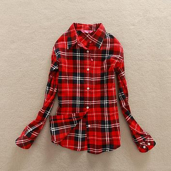 2018 New Autumn Long Sleeve Womens Cotton Plaid Shirt Turn Down Collar Shirt Blusas Feminino Ladies Blouses Tops Fashion