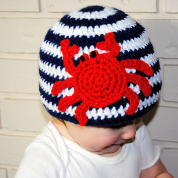 Crab Crochet Baby Hat, Nautical Hat, Crochet Summer Hat, Boys Spring Hat Beach Hat, Newborn Photo Prop, Girls Nautical Beanie Red White Blue