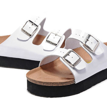 2017 New STYLE Birkenstock Summer Fashion Leather Cork Flats Beach Lovers Slippers Casual Sandals For Women Men Couples Slippers size 36-44 mac597