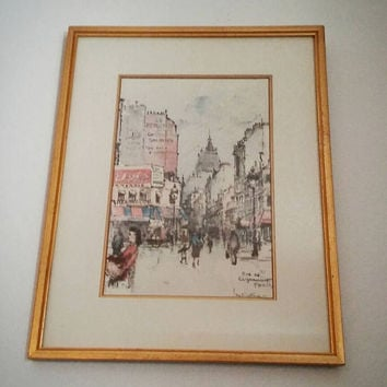 Jan Korthals, Vintage Watercolor, 50s Wall Décor, 50s Retro, Retro, Wall Décor, Korthals, Paris Painting, Gifts for Mom, Vintage Art, Paris
